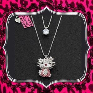 Betsey Johnson Crystal Double Chain Kitty Pendant
